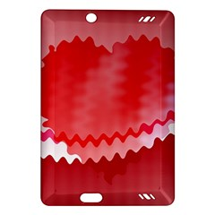 Red Fractal Wavy Heart Amazon Kindle Fire HD (2013) Hardshell Case