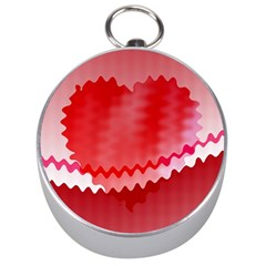 Red Fractal Wavy Heart Silver Compasses