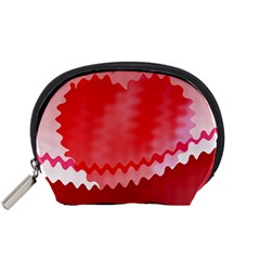 Red Fractal Wavy Heart Accessory Pouches (Small)