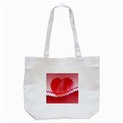 Red Fractal Wavy Heart Tote Bag (White)