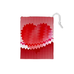 Red Fractal Wavy Heart Drawstring Pouches (Small)