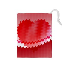 Red Fractal Wavy Heart Drawstring Pouches (Medium)