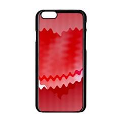Red Fractal Wavy Heart Apple iPhone 6/6S Black Enamel Case