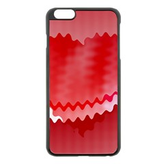 Red Fractal Wavy Heart Apple iPhone 6 Plus/6S Plus Black Enamel Case