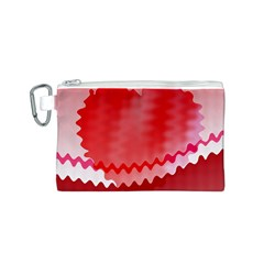 Red Fractal Wavy Heart Canvas Cosmetic Bag (s)