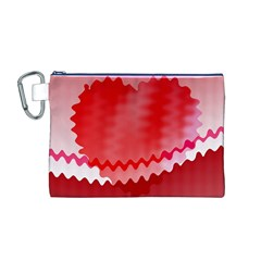 Red Fractal Wavy Heart Canvas Cosmetic Bag (M)