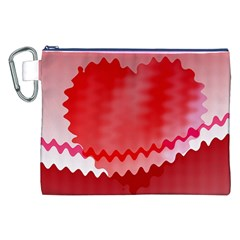 Red Fractal Wavy Heart Canvas Cosmetic Bag (XXL)