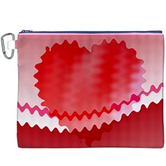 Red Fractal Wavy Heart Canvas Cosmetic Bag (XXXL)