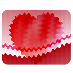 Red Fractal Wavy Heart Double Sided Flano Blanket (Medium)