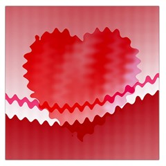 Red Fractal Wavy Heart Large Satin Scarf (Square)