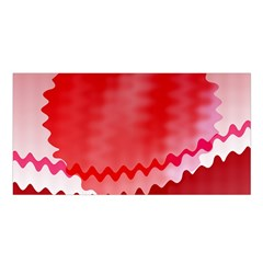 Red Fractal Wavy Heart Satin Shawl