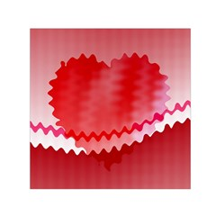 Red Fractal Wavy Heart Small Satin Scarf (Square)