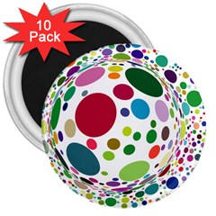 Color Ball 3  Magnets (10 Pack)