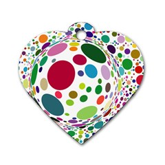 Color Ball Dog Tag Heart (one Side)