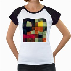 Background With Color Layered Tiling Women s Cap Sleeve T