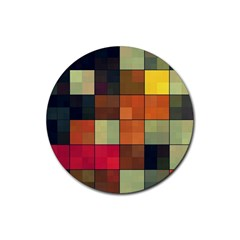 Background With Color Layered Tiling Rubber Round Coaster (4 Pack)