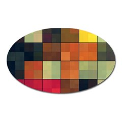 Background With Color Layered Tiling Oval Magnet