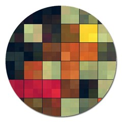Background With Color Layered Tiling Magnet 5  (Round)