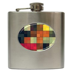 Background With Color Layered Tiling Hip Flask (6 Oz)
