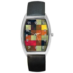 Background With Color Layered Tiling Barrel Style Metal Watch