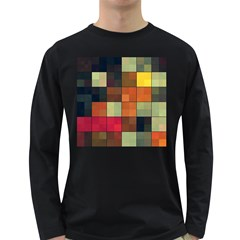 Background With Color Layered Tiling Long Sleeve Dark T-Shirts