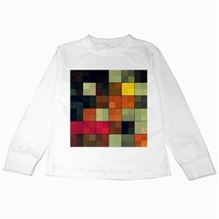 Background With Color Layered Tiling Kids Long Sleeve T-Shirts
