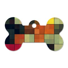 Background With Color Layered Tiling Dog Tag Bone (two Sides)