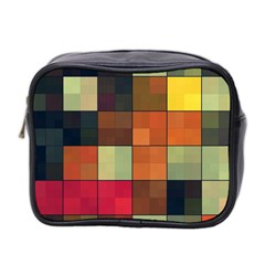 Background With Color Layered Tiling Mini Toiletries Bag 2 Side