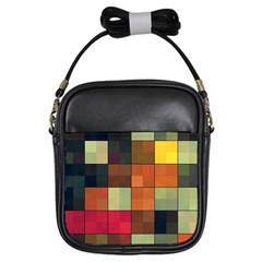 Background With Color Layered Tiling Girls Sling Bags