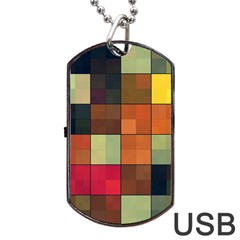 Background With Color Layered Tiling Dog Tag USB Flash (One Side)