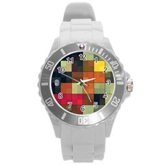 Background With Color Layered Tiling Round Plastic Sport Watch (L)