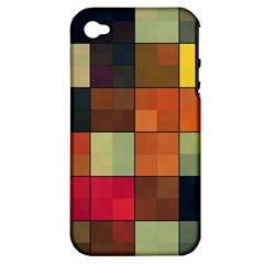 Background With Color Layered Tiling Apple iPhone 4/4S Hardshell Case (PC+Silicone)