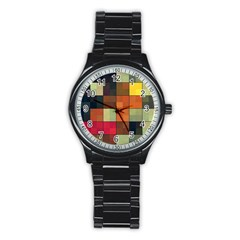 Background With Color Layered Tiling Stainless Steel Round Watch