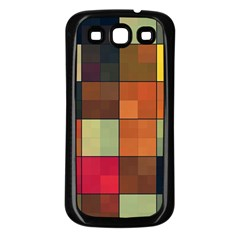 Background With Color Layered Tiling Samsung Galaxy S3 Back Case (Black)