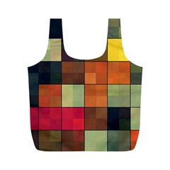 Background With Color Layered Tiling Full Print Recycle Bags (M)