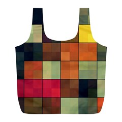 Background With Color Layered Tiling Full Print Recycle Bags (L)