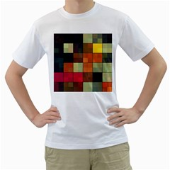 Background With Color Layered Tiling Men s T-Shirt (White)