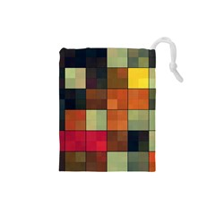 Background With Color Layered Tiling Drawstring Pouches (Small)