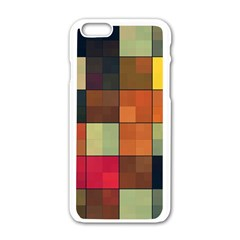 Background With Color Layered Tiling Apple iPhone 6/6S White Enamel Case