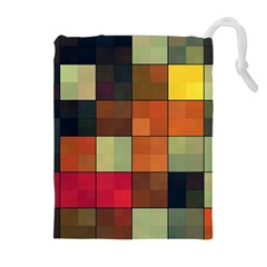 Background With Color Layered Tiling Drawstring Pouches (extra Large)