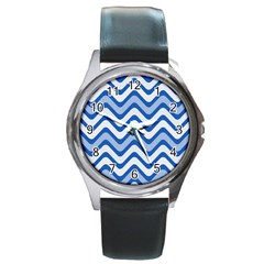 Background Of Blue Wavy Lines Round Metal Watch