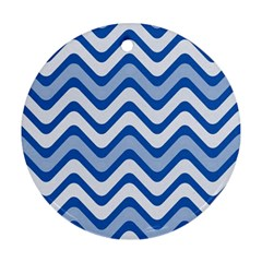 Background Of Blue Wavy Lines Ornament (round)
