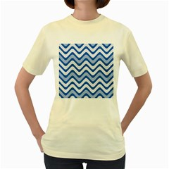 Background Of Blue Wavy Lines Women s Yellow T Shirt