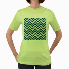 Background Of Blue Wavy Lines Women s Green T-Shirt