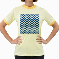 Background Of Blue Wavy Lines Women s Fitted Ringer T Shirts