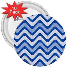 Background Of Blue Wavy Lines 3  Buttons (10 pack)