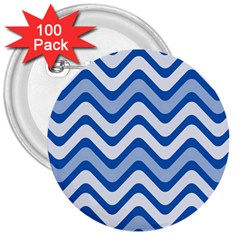 Background Of Blue Wavy Lines 3  Buttons (100 pack)