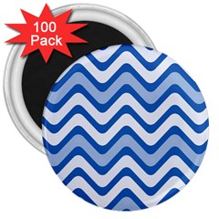 Background Of Blue Wavy Lines 3  Magnets (100 pack)