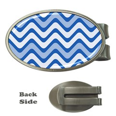 Background Of Blue Wavy Lines Money Clips (Oval)