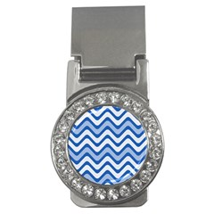 Background Of Blue Wavy Lines Money Clips (CZ)
